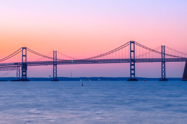 Large bridge and sunset